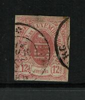 Luxembourg SC# 8, Used, center and top thin, small top tear - S773