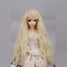 "1/3 8-9"" BJD SD Doll Hair DZ DOD LUTS  Princess Blonde Long Curly Wavy Full Wig"