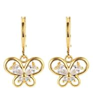 Bright yellow gold plated multi crystal butterfly shape dangle earrings