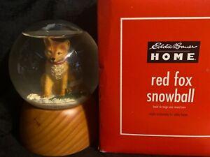 "Eddie Bauer Home Red Fox Snowball Snow Globe, Wood Base, 5.25"", Christmas"