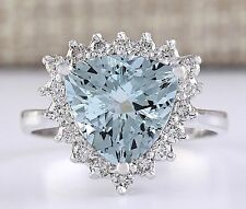 Women Fashion Jewelry 925 Silver Aquamarine Engagement Bridal Party Ring Size 8