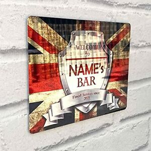 Personalised Bar Sign effect Mirror Sign Flag A4 - A5 size Bar Add Name