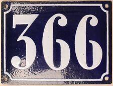 Large old French house number 366 door gate plate plaque enamel steel metal sign