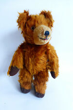 "Vintage Antique Teddy Bear Long Mohair Cinnamon Color 13"" Jointed Glass Eyes"