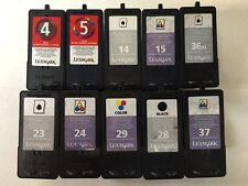 Mix lot of 600 Lexmark 4,5,14,15,23,24,28,29,36,37 Virgin Empty Ink Cartridges