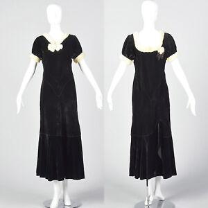 XXS 1930s Black Cotton Velvet Long Dress VTG White Fur Trim Bow Puff Sleeves