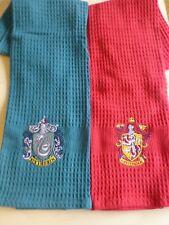 Official Harry Potter Hogwarts Houses Tea Towel Pack Of 2 Gryffindor Slytherin