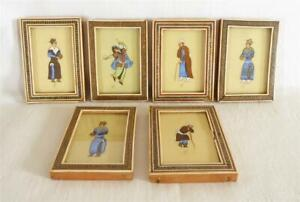 SET OF SIX ANTIQUE EARLY 20TH C PERSIAN PAINTINGS IN MICRO MOSAIC FRAMES SIGNED