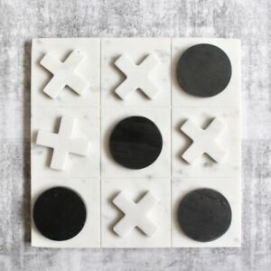 New Marble Tic Tac Toe Board Game Noughts & Crosses, 30cm