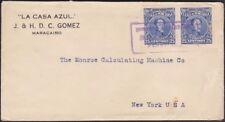 Venezuela - 1924 - 25 Cents Ultramarine Simon Bolivar Issue Pair on Cover to US