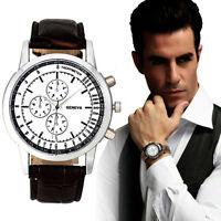 Mode Herren Army Armbanduhren Leder Quarz Anolog Sport Uhren Watches