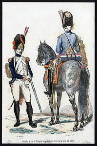 Antique Print-MILITARY-FRANCE-GRENADIER-TRUMPETER-HORSE-Lacoste-Lami-1845