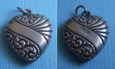 Vintage 2-sided repousse puffy heart sterling charm