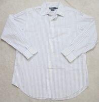Ralph Lauren Curham Dress Shirt White & Blue 16.5 32/33 Large Men's Button Front