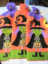 LOT OF 2 HALLOWEEN WITCH CROCHET TOP KITCHEN~BATH HAND TOWELS~WITCH/CAT BUTTONS