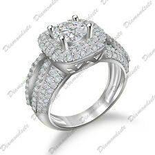Simulated Diamond Women's Enagagement Ring Solitaire With Accent Round Cut