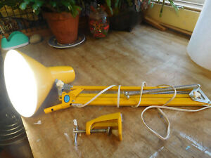 Vintage Ledu Clamp On Desk Lamp YELLOW Mid Century Swing Arm Desk Light ~FREESH~