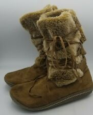 """Women's """"Wanted"""" Brown Suede Igloo Winter Boots 9 Eskimo Faux Fur Lace Up"""