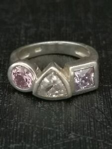 925 Sterling Silver 3 Stone Ring UK Size L