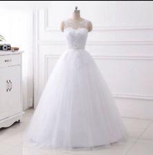 UK White/Ivory Sleeveless A-Line Lace Wedding Dress Bridal Gown Size 6-16