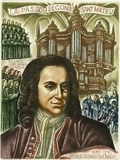 Johann Sebastian Bach, Music, Original Etching Ex libris by Sergey Kirnitskiy