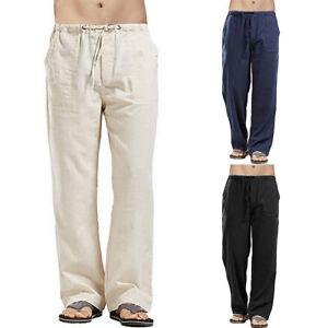 Mens Harem Pants Casual Cotton Linen Baggy Loose Oversized Yoga Hippy Trousers