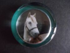 "VINTAGE ""DEVATREND"" ENGLISH GLASS PAPERWEIGHT OF A GREY HORSE HEAD"
