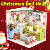 DIY Christmas Doll House Kit Wooden Miniature Furniture Kids Adult Toys Gifts