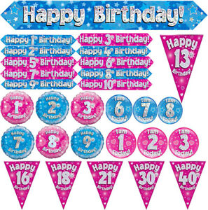 Girls Jumbo Birthday Bunting Banner Balloon Badges Holographic Style Accessory