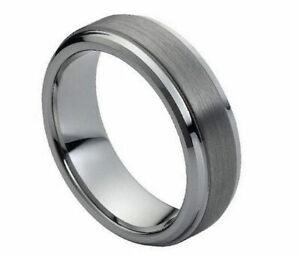 Free Engraving - Tungsten Carbide Step Edge Brushed Finish Wedding Band Ring
