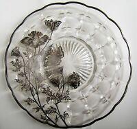 Vintage Silver Overlay Glass Serving Plate Tray Platter, Floral Poppy Design