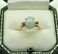 Vintage Lovely 14ct Gold Opal And Diamond Ring - Fantastic Opal Size N