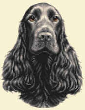 BLACK COCKER SPANIEL dog, puppy ~  FULL counted cross stitch kit