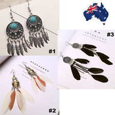 Boho Retro Dream Catcher Dangle Bead Earrings Feather Pendant Charm Jewelry