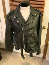 Vintage 1980s UNIK Black Leather Motorcycle Riders Jacket Heavy size 52  2XL XL
