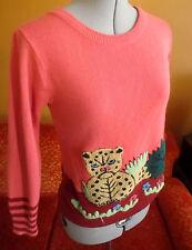 M True Vtg 70s ULTIMATE Magenta/Pink Knit CREEPY TIGER DISCO Top LS Shirt Womens