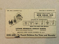 Vintage Luther Memorial Sunday School Quota Goal Brochure : Chicago, IL