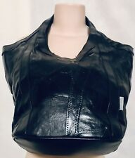 Large/Medium Black Leather Shoulder Bag/Tote/Bucket Tote/Purse