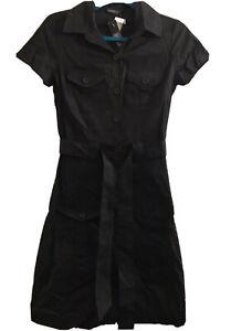 *NWT* METRO NOW Size 6-8 Black Cotton Short Sleeve, Button-Up Dress