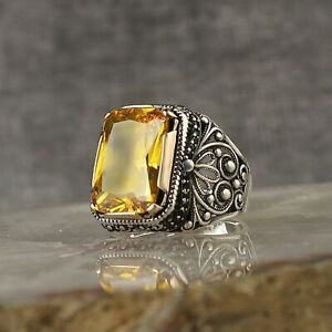 Excellent 925K Sterling Silver Turkish Jewelry Citrine Men's Ring All Size
