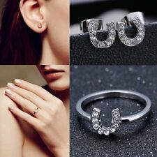 Lucky Charm Horseshoe Ring & Earrings Equestrian Crystal Silver Jewelry Gifts