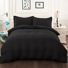 Black Solid Doona/Duvet/Quilt Cover Set Double Queen King Size Bed Pillowcases