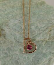 Pink Mystic Topaz with Rose Gold/Silver Heart Pendant Necklace TGW 1.00 cts