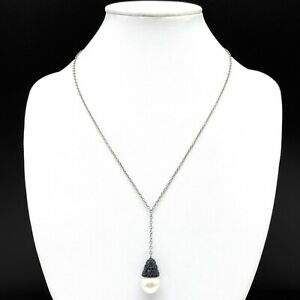 Swarovski Swan Signed Faux Pearl Pave Black Crystal Chain Drop Pendant Necklace
