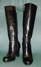 TOMMY HILFIGER BLACK LEATHER WOMENS KNEE HIGH BOOTS PLATFORM AND HIGH HEEL