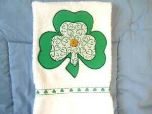 St Patrick's Day Appliqued Hand Towel Bathroom or Kitchen Simply Shamrocks New