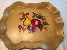 "Vtg Nashco Nw York Hand Painted Tole' Toile Tray Scalloped Fruit 16""x13"" Anatole"
