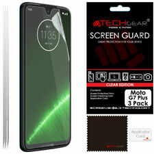 3 Pack of TECHGEAR Clear Screen Protector Guard Covers for Motorola Moto G7 Plus