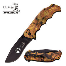 "Elk Ridge Ballistic 8"" Camo Spring Assisted Folding Hunting Pocket Knife Switch"