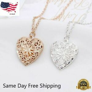 """Wholesale 925 Sterling Silver Locket Heart Love Necklace Photo Picture 18""""- 20"""""""